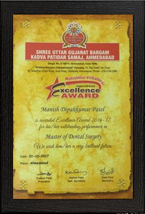 Dr.Manish Patel – Award